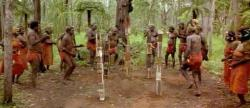 Tiwi Islands, Australia. 90km north of Darwin. Dancing at a funeral, or pukamani ceremony.