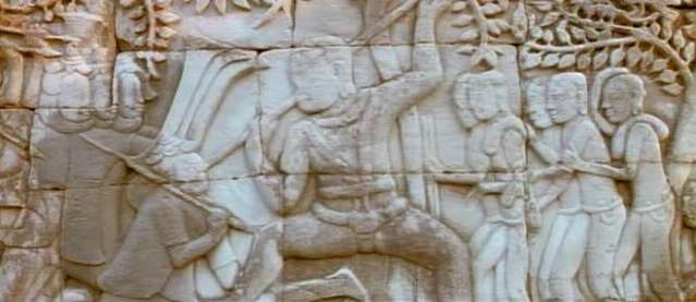 This is a wall scene showing the defeat of the invading Chams of Vietnam in the Bayon temple complex..not Angkor Wat!