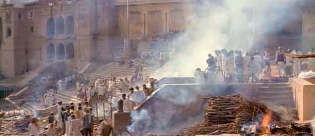 A funeral pyre on the Ganges, India