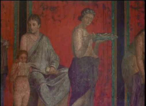 detail of a fresco on the walls of Villa of the Mysteries, Pompeii