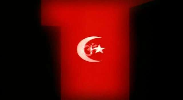 Ottoman star and crescent, as used in flags of Turkey and Pakistan, here represents Islam